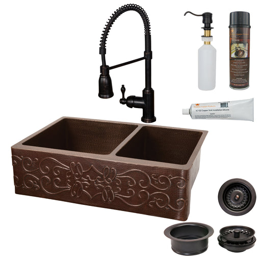 Premier Copper Products - KSP4_KA60DB33229S Kitchen Sink, Faucet and Accessories Package-DirectSinks