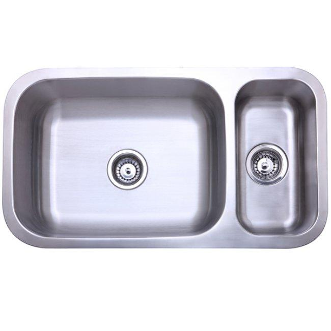Gourmetier KU321897DBN Cambridge Stainless Steel Double Bowl Undermount Kitchen Sink, Satin Nickel-Kitchen Sinks-Free Shipping-Directsinks.