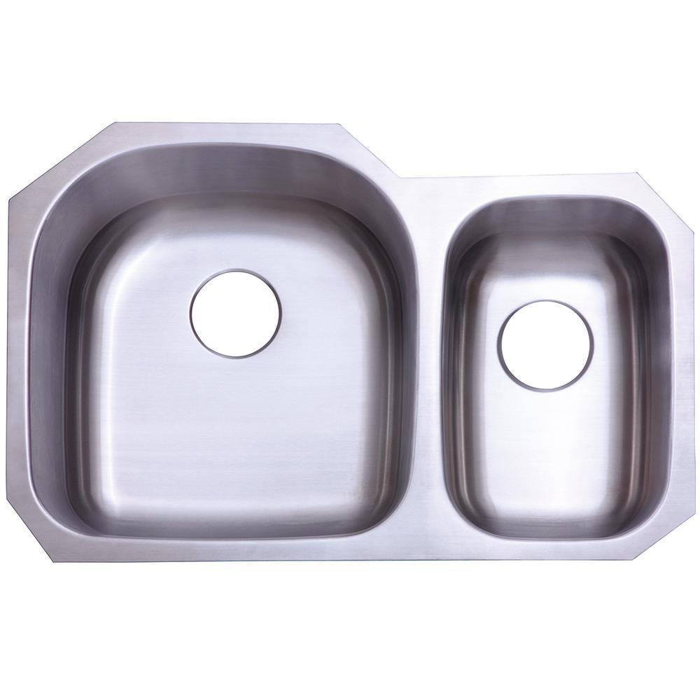 Gourmetier KU322097DBN Seattle Stainless Steel Double Bowl Undermount Kitchen Sink, Satin Nickel