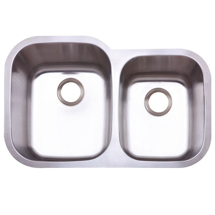 Gourmetier KU32219DBN Bayshore Stainless Steel Double Bowl Undermount Kitchen Sink, Satin Nickel-Kitchen Sinks-Free Shipping-Directsinks.