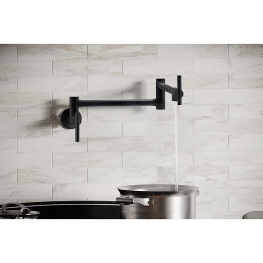 Elkay Avado Wall Mount Single Hole Pot Filler Kitchen Faucet with Lever Handles