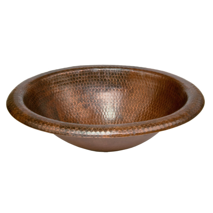 Premier Copper Products Wide Rim Oval Self Rimming Hammered Copper Sink-DirectSinks