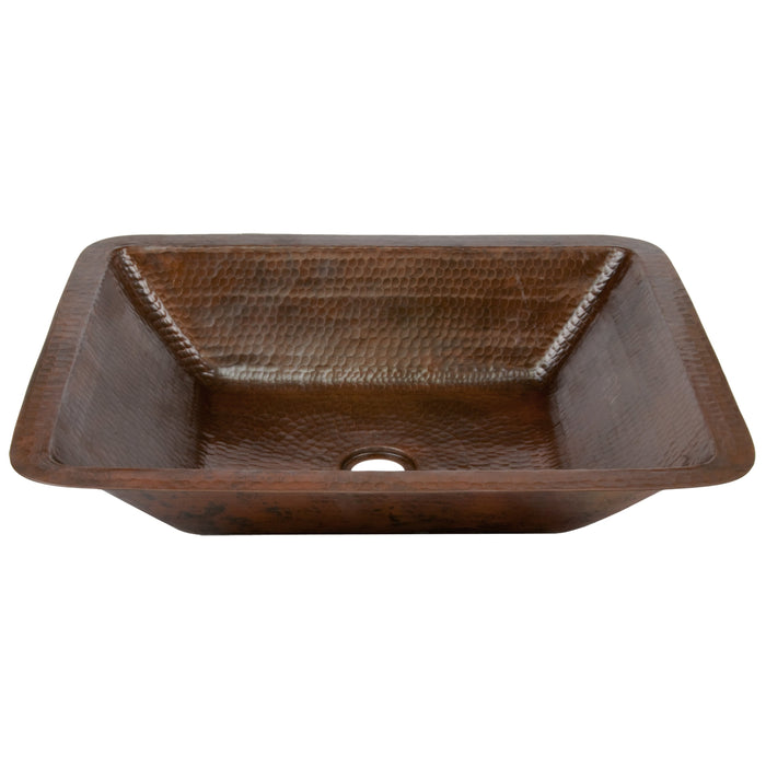 Premier Copper Products Rectangle Under Counter Hammered Copper Bathroom Sink-DirectSinks
