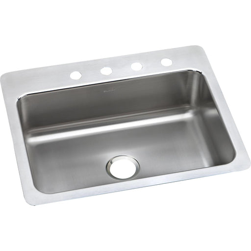 "Elkay 27"" x 22"" x 8"" Lustertone Classic Stainless Steel Single Bowl Dual Mount Sink"