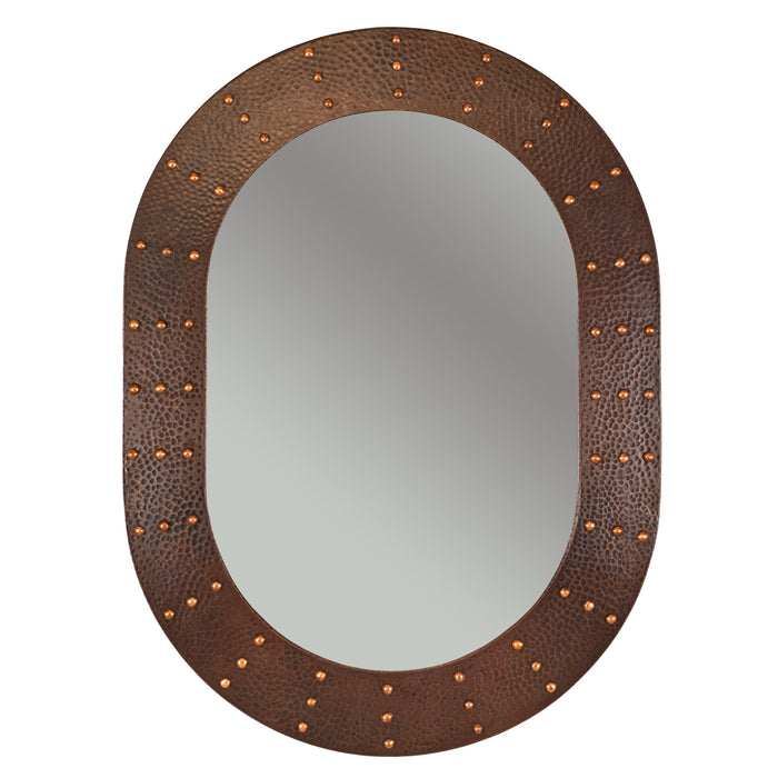 "Premier Copper Products 35"" Hand Hammered Oval Copper Mirror with Hand Forged Rivets-DirectSinks"
