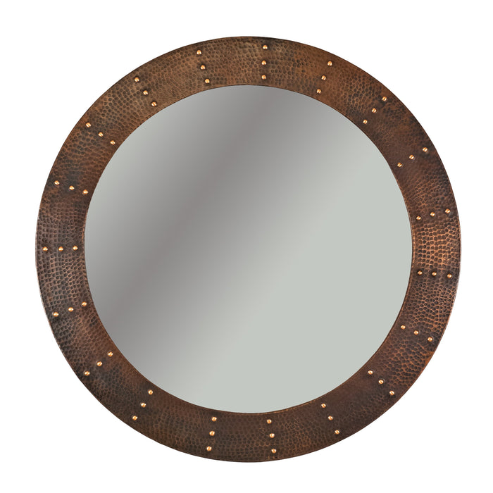 "Premier Copper Products 34"" Hand Hammered Round Copper Mirror with Hand Forged Rivets-DirectSinks"