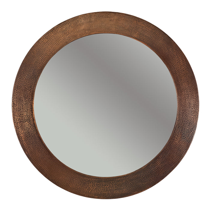 "Premier Copper Products 34"" Hand Hammered Round Copper Mirror-DirectSinks"