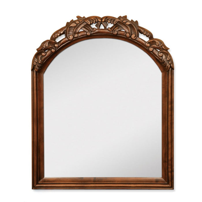 Jeffrey Alexander MIR009 Walnut mirror with hand-carved details and beveled glass-DirectSinks