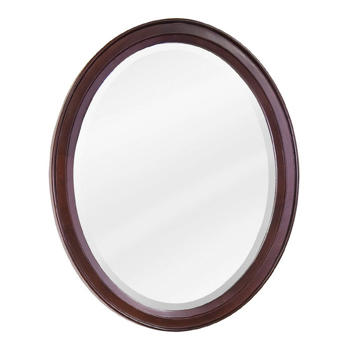 Jeffrey Alexander MIR067 Mahogany oval mirror with beveled glass-DirectSinks