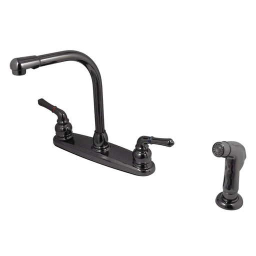 Kingston Brass NB750SP Water Onyx Two Handle Centerset Kitchen Faucet and Matching Side Sprayer in Black Nickel-Kitchen Faucets-Free Shipping-Directsinks.