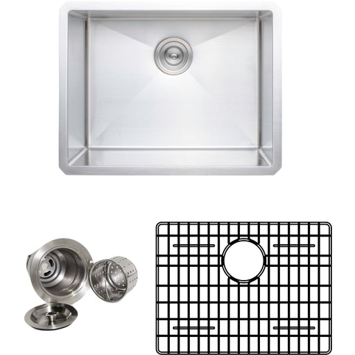 Wells Sinkware Handcrafted 23-Inch 16-Gauge Undermount Single Bowl Stainless Steel Kitchen Sink with Grid Rack and Basket Strainer-DirectSinks