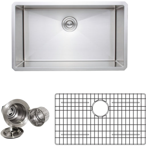 Wells Sinkware Handcrafted 30-Inch 16-Gauge Undermount Single Bowl Stainless Steel Kitchen Sink with Grid Rack and Basket Strainer-DirectSinks