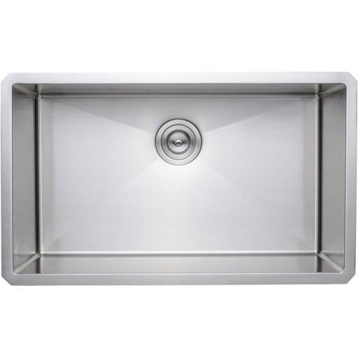 Wells Sinkware Handcrafted 30-Inch 16-Gauge Undermount Single Bowl Stainless Steel Kitchen Sink-DirectSinks