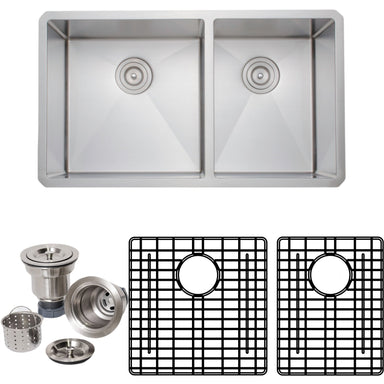 Wells Sinkware Handcrafted 33-Inch 16-Gauge Undermount 60/40 Double Bowl Stainless Steel Kitchen Sink with Grid Racks and Basket Strainers-DirectSinks