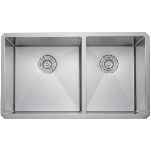 Wells Sinkware Handcrafted 33-Inch 16-Gauge Undermount 60/40 Double Bowl Stainless Steel Kitchen Sink-DirectSinks