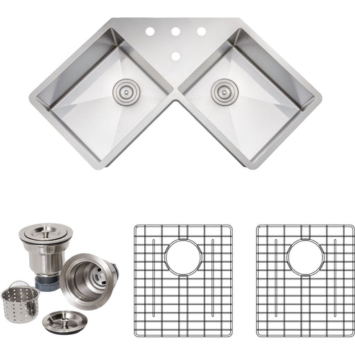 Wells Sinkware Handcrafted 46-Inch 16-Gauge Undermount Butterfly Equal Double Bowl Stainless Steel Corner Kitchen Sink with Grid Racks and Basket Strainers-DirectSinks