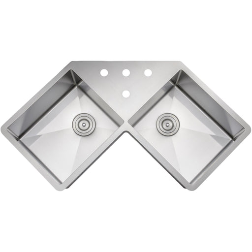 Wells Sinkware Handcrafted 46-Inch 16-Gauge Undermount Butterfly Equal Double Bowl Stainless Steel Corner Kitchen Sink-DirectSinks