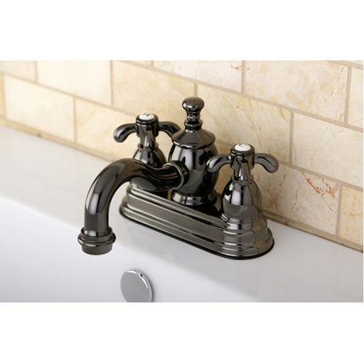 Kingston Brass NS7100TX Water Onyx 4 inch Centerset Lavatory Faucet with Cross Handles and Brass Pop up Drain in Black Nickel-Bathroom Faucets-Free Shipping-Directsinks.