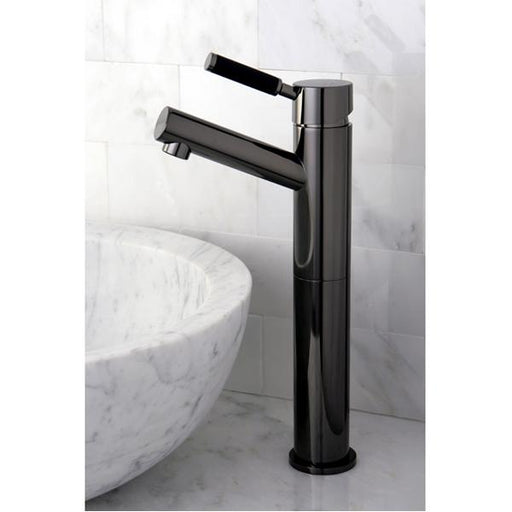 Kingston Brass NS8410DKL Water Onyx Single Handle Vessel Sink Faucet with Anti-Slide Handle Sleeve Less Pop up and Plate in Black Nickel-Bathroom Faucets-Free Shipping-Directsinks.
