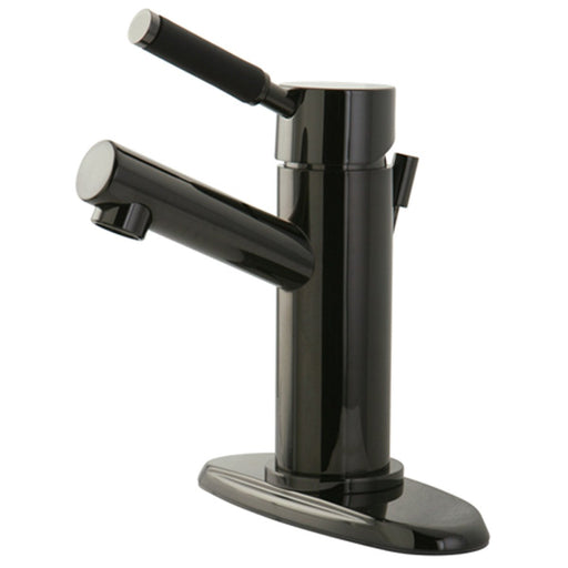 Kingston Brass NS8420DKL Water Onyx Single Handle Lavatory Faucet with Anti-Slide Handle Sleeve and Brass Pop up Drain in Black Nickel-Bathroom Faucets-Free Shipping-Directsinks.