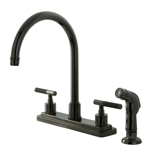 Kingston Brass NS8790DKLSP Water Onyx 8 inch Centerset Kitchen Faucet with Lever Handles and Matching Side Sprayer in Black Nickel-Kitchen Faucets-Free Shipping-Directsinks.