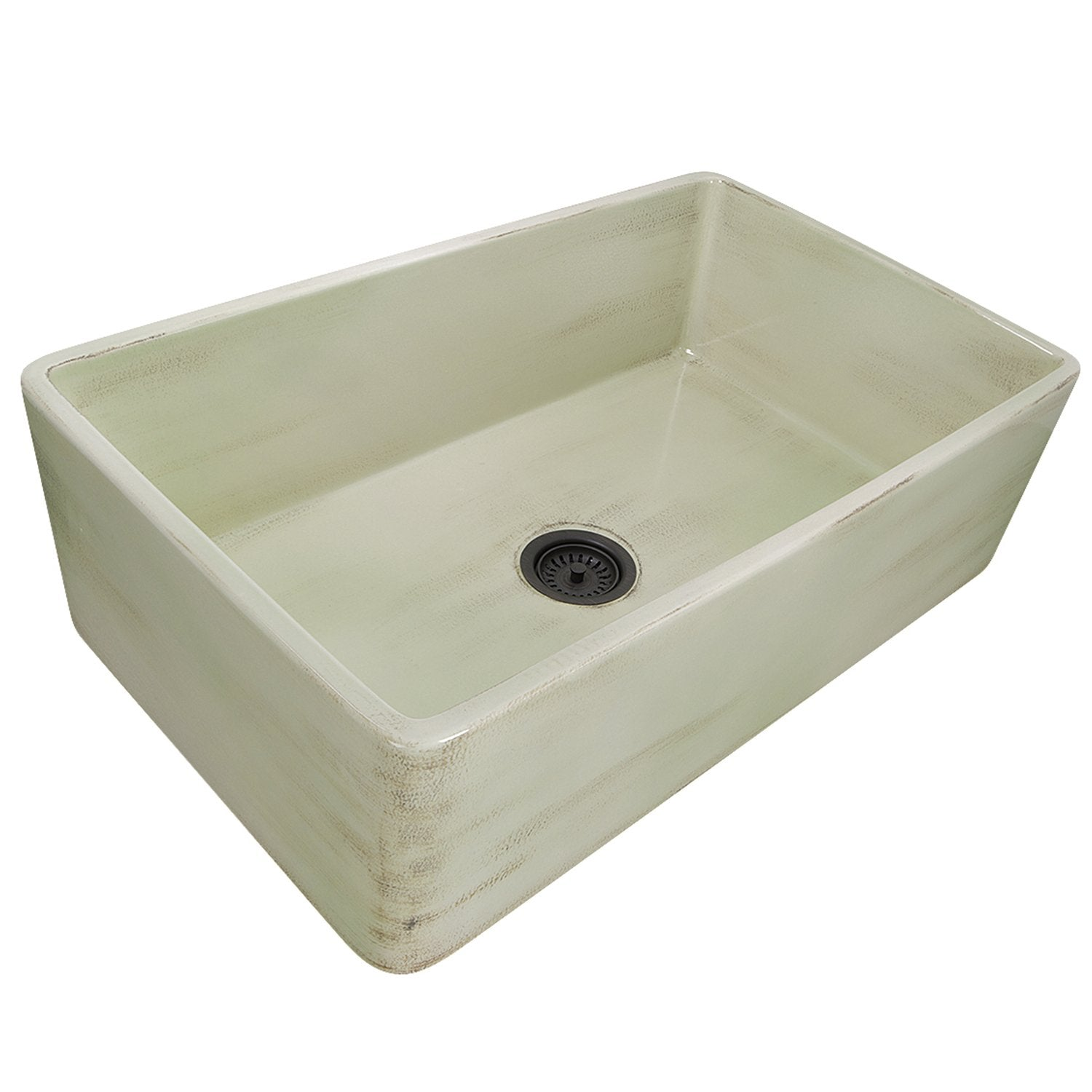 "Nantucket Sinks 33"" Farmhouse Fireclay Sink with Shabby Green Finish"