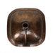 "Nantucket Sinks SQRC-OF - 16.25"" Hand Hammered Copper Square Undermount Bathroom Sink With Overflow"