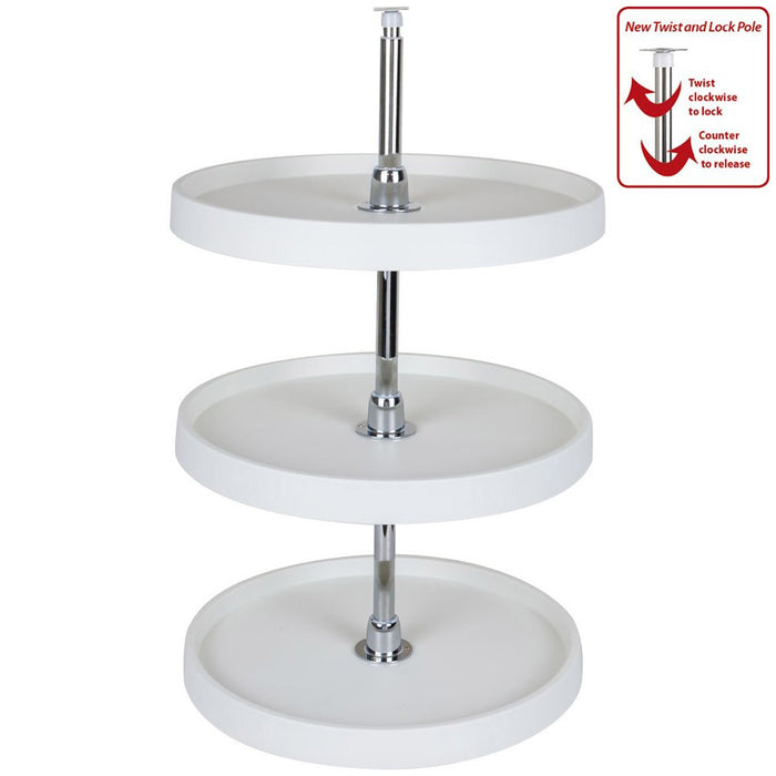 "Hardware Resources 3 Shelf 18"" Diameter Round Plastic Lazy Susan Set with Chrome Hubs-DirectSinks"
