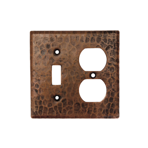 Premier Copper Products Copper Combination Switchplate, 2 Hole Outlet and Single Toggle Switch-DirectSinks