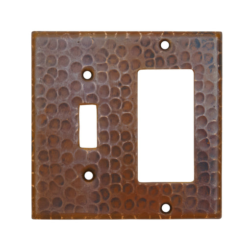 Premier Copper Products Copper Combination Switchplate, 1 Hole Single Toggle Switch and Ground Fault/Rocker GFI Cover-DirectSinks