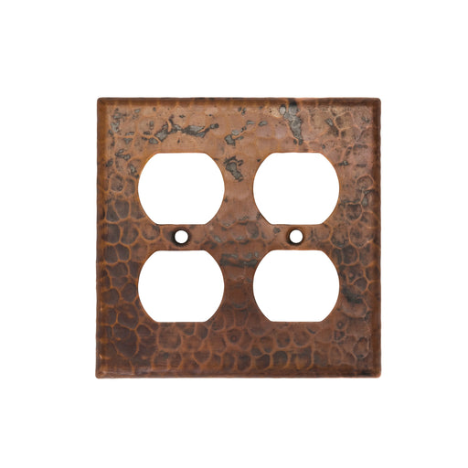 Premier Copper Products Copper Switchplate Double Duplex, 4 Hole Outlet Cover-DirectSinks
