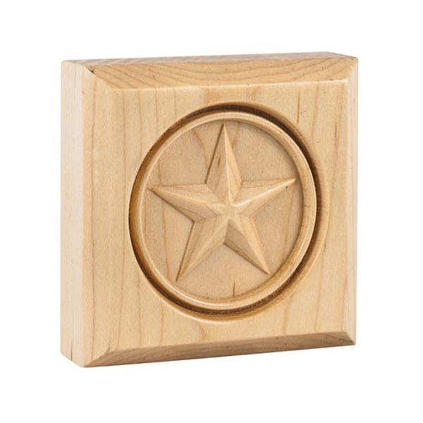 "Hardware Resources 3"" x 3"" x 7/8"" Alder Star Rosette Moulding-DirectSinks"