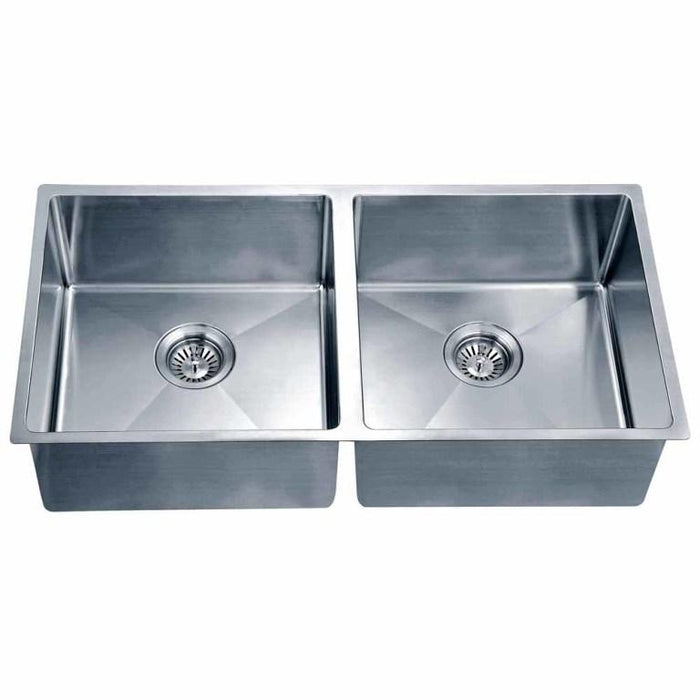 "Dawn 35"" Equal Double Bowl Undermount Kitchen Sink, with Small Radius Corners-Kitchen Sinks Fast Shipping at DirectSinks."