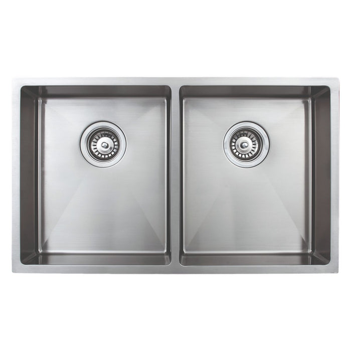 Wells Sinkware Handcrafted 30-Inch 18-Gauge Undermount 50/50 Double Bowl ADA Compliant Stainless Steel Kitchen Sink-Kitchen Sinks Fast Shipping at Directsinks.