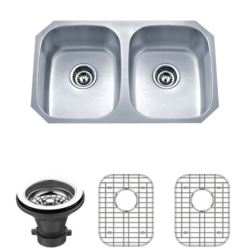 Wells Sinkware 30-Inch 18-Gauge Undermount 50/50 Double Bowl Stainless Steel Kitchen Sink with Grid Rack and Strainer-Kitchen Sinks Fast Shipping at Directsinks.