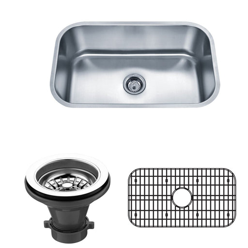 Wells Sinkware 30-Inch 18-Gauge Undermount Single Bowl Stainless Steel Kitchen Sink with Grid Rack and Strainer-Kitchen Sinks Fast Shipping at Directsinks.