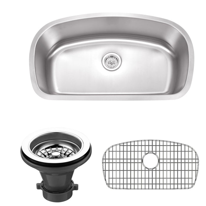 Wells Sinkware 33-Inch 18-Gauge Undermount Single Bowl Stainless Steel Kitchen Sink with Grid Rack and Strainer-Kitchen Sinks Fast Shipping at Directsinks.