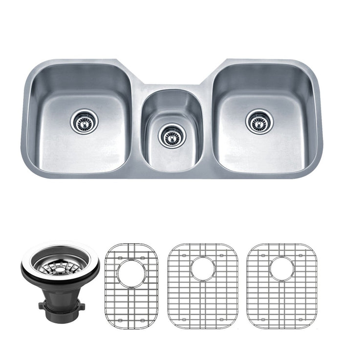 Wells Sinkware 46-Inch 18-Gauge Undermount Triple Bowl Stainless Steel Kitchen Sink with Grid Rack and Strainer-Kitchen Sinks Fast Shipping at Directsinks.