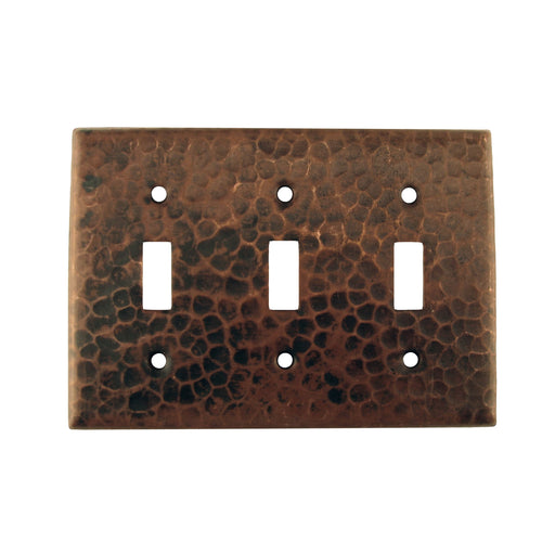 Premier Copper Products Copper Switchplate Triple Toggle Switch Cover-DirectSinks
