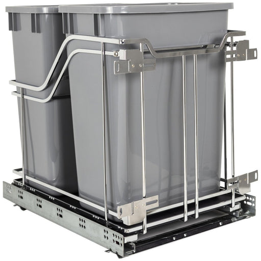 Hardware Resources Polished Chrome Trashcan Pullout with Soft-close Slides-DirectSinks