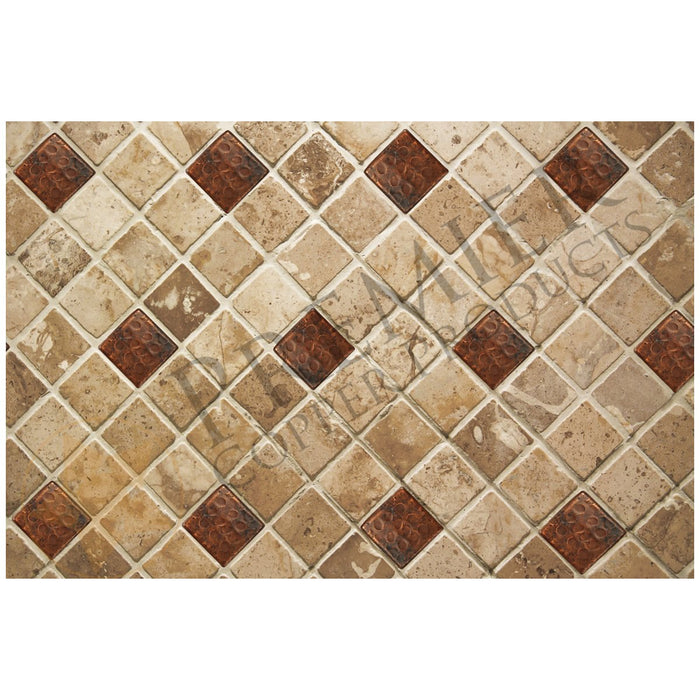 "Premier Copper Products 2"" x 2"" Hammered Copper Tile-DirectSinks"