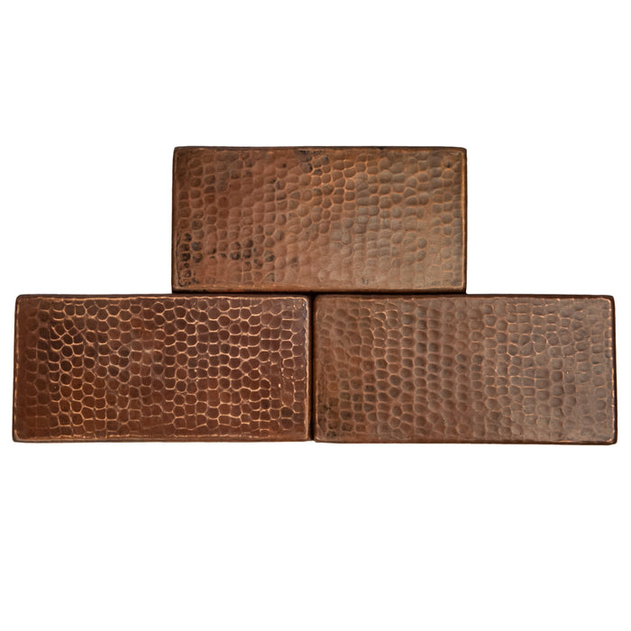 "Premier Copper Products 3"" x 6"" Hammered Copper Tile-DirectSinks"