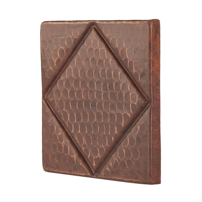 "Premier Copper Products 4"" x 4"" Hammered Copper Tile with Diamond Design - Quantity 8-DirectSinks"