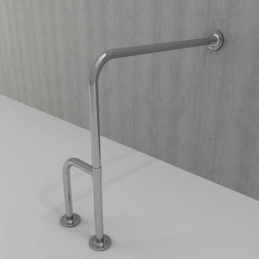 Bocchi 90 Degree Angled from Wall-to-Floor Grab Bar in Stainless Steel-DirectSinks