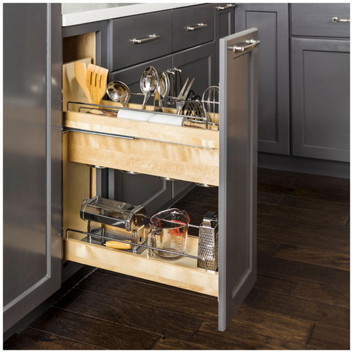 "Hardware Resources 8 Inch ""No Wiggle"" Utensil Bin Base Cabinet Pullout Built on Premium Soft-close Slides-DirectSinks"