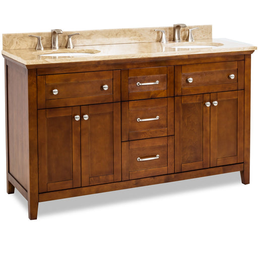 "Jeffrey Alexander Chatham Shaker 60"" Double Vanity with Preassembled Top and Bowl-DirectSinks"