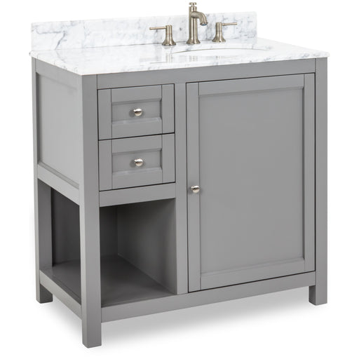 "Jeffrey Alexander Astoria Modern 36"" Vanity with Preassembled Top and Bowl in Gray-DirectSinks"