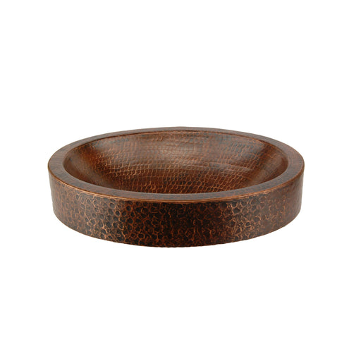 "Premier Copper Products 17"" Compact Oval Skirted Vessel Hammered Copper Sink-DirectSinks"