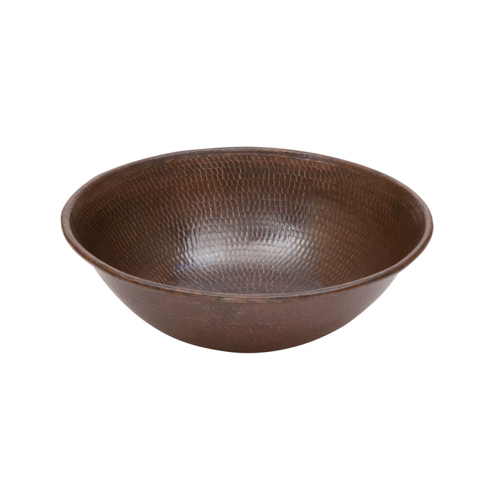 "Premier Copper Products 15"" Round Wired Rim Vessel Hammered Copper Sink-DirectSinks"