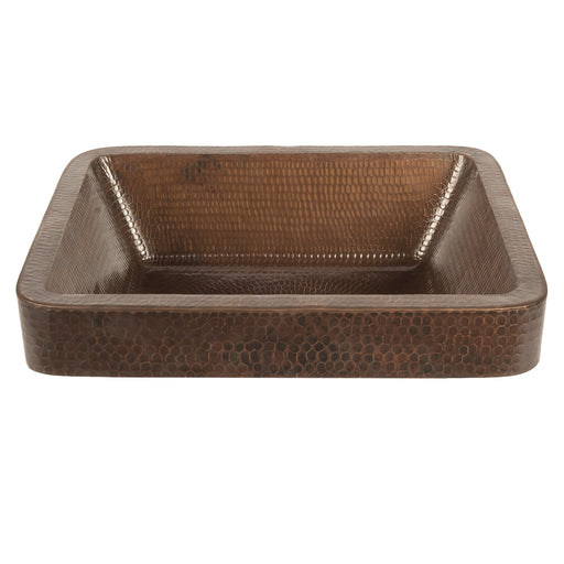 "Premier Copper Products 17"" Rectangle Skirted Vessel Hammered Copper Sink-DirectSinks"